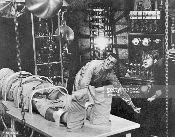 Boris Karloff Colin Clive and Dwight Frye in a scene from the 1931 Universal Pictures production of Frankenstein