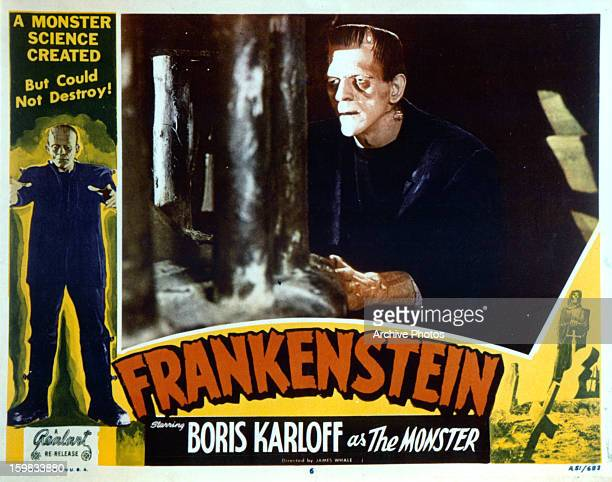 Boris Karloff in movie art for the film 'Frankenstein' 1931