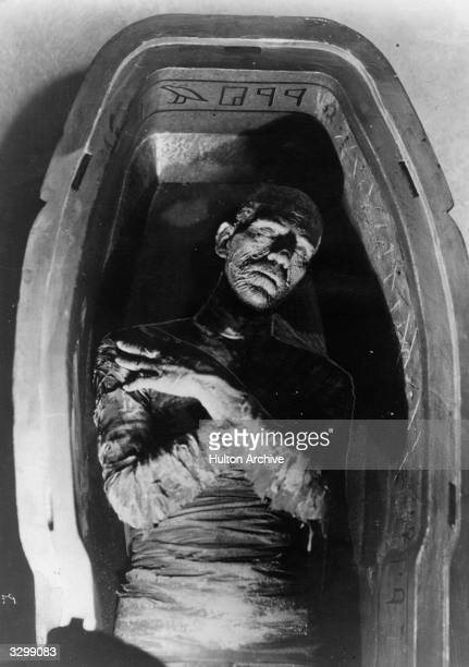 Boris Karloff plays the evil mummy encased in his sarcophagus in the film 'The Mummy' The film was directed by Karl Freund for Universal Studios