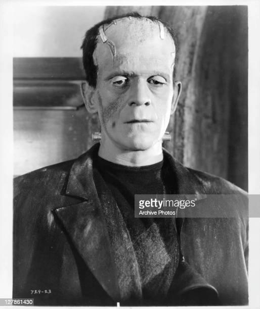 Boris Karloff standing up in a scene from the film 'Bride Of Frankenstein' 1935