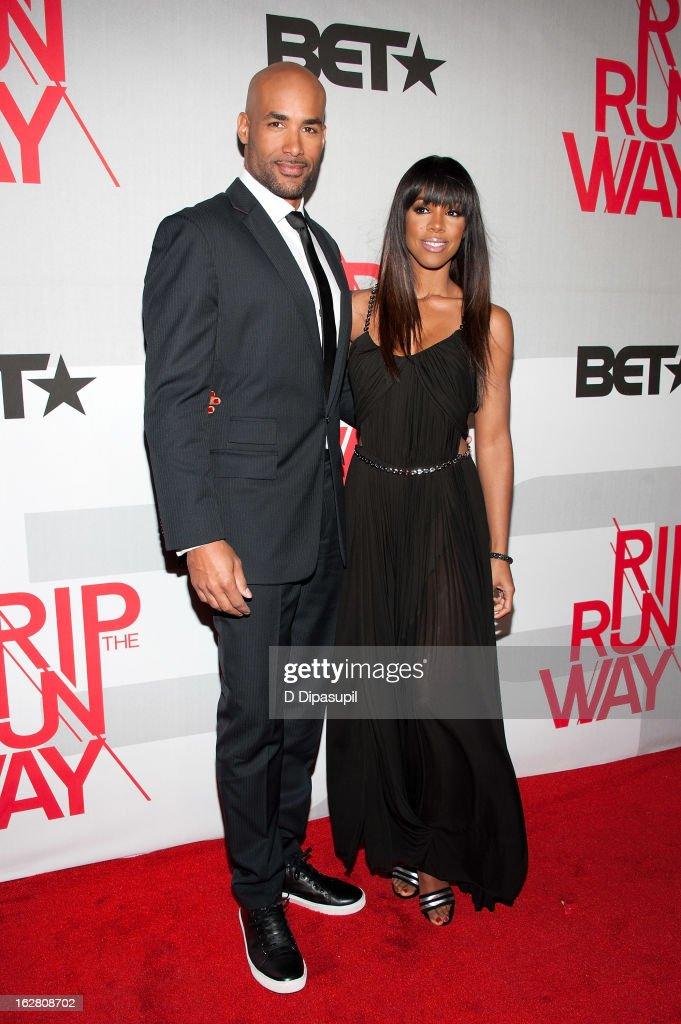 Boris Kodjoe (L) and Kelly Rowland attend BET's Rip The Runway 2013 at Hammerstein Ballroom on February 27, 2013 in New York City.