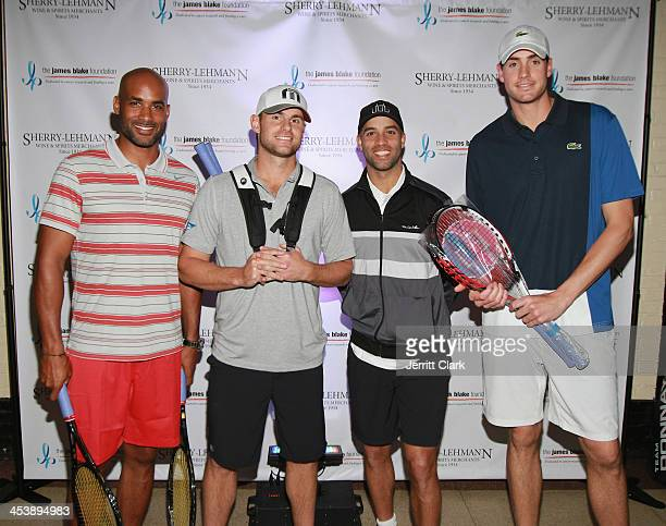 Boris Kodjoe Andy Roddick John Isner and James Blake attend the 2013 Serving For A Cure Benefit at the 69th Regiment Armory on December 5 2013 in New...