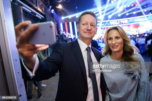Boris Popovic presidential candidate and mayor of Koper takes a selfie with his wife Eva before the last TV Presidential Debate ahead of the...