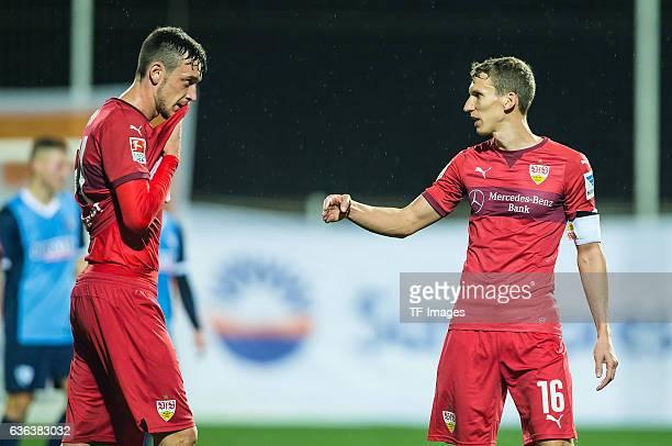 Boris Tashchy of VfB Stuttgart and Florian Klein of VfB Stuttgart gestures before during a friendly match between VfB Stuttgart and VfL Bochum at...