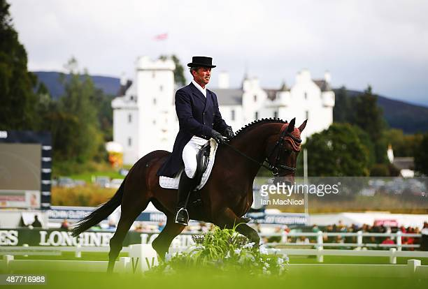 Boris Vasilev of Russia competes on Nabludatel in the dressage during the Longines FEI European Eventing Championship 2015 at Blair Castle on...