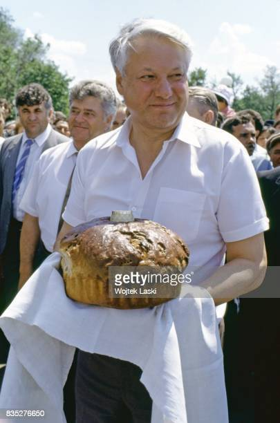 Boris Yeltsin is welcomed with bread and salt at the Russian countryside during his presidential campaign Russia in June 1991