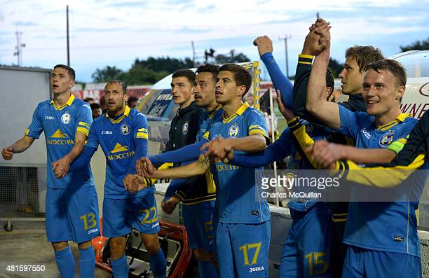 Borisov celebrate after the Champions League 2nd round qualifying game between Dundalk FC and BATE Borisov at Oriel Park on July 22 2015 in Dundalk...