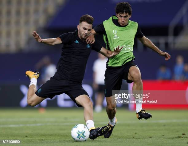 Borja Mayoral and Jesus Vallejo of Real Madrid in action during a training session at Philip II Arena on August 7 2017 in Skopje Macedonia