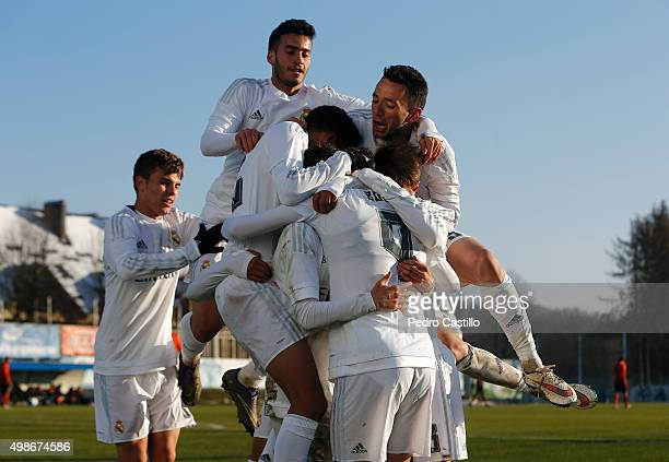 Borja Mayoral celebrates with his teammates after scoring during the UEFA Youth League match between FC Shakhtar Donetsk and Real Madrid CF at Medyk...