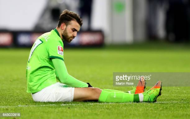 Borja Mayoral of Bremen reacts during the Bundesliga match between VfL Wolfsburg and Werder Bremen at Volkswagen Arena on February 24 2017 in...