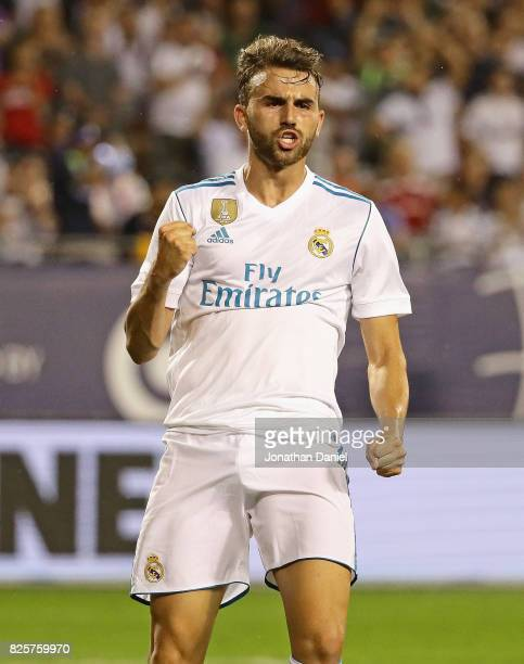Borja Mayoral of Real Madrid celebrates after scoring a goal against the MLS AllStars during the 2017 MLS All Star Game at Soldier Field on August 2...