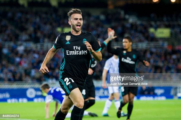 Borja Mayoral of Real Madrid celebrates after scoring a goal during the La Liga match between Real Sociedad de Futbol and Real Madrid at Estadio...