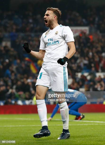 Borja Mayoral of Real Madrid celebrates after scoring during the Copa del Rey round of 32 second leg match between Real Madrid CF and Fuenlabrada at...