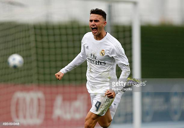 Borja Mayoral of Real Madrid celebrates after scoring during the UEFA Youth League match between Real Madrid and Paris SaintGermain at Estadio...