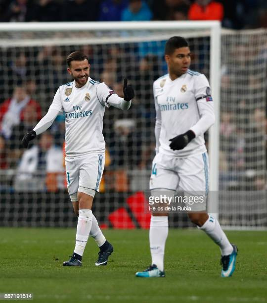 Borja Mayoral of Real Madrid celebrates after scoring during the UEFA Champions League group H match between Real Madrid CF and Borussia Dortmund at...