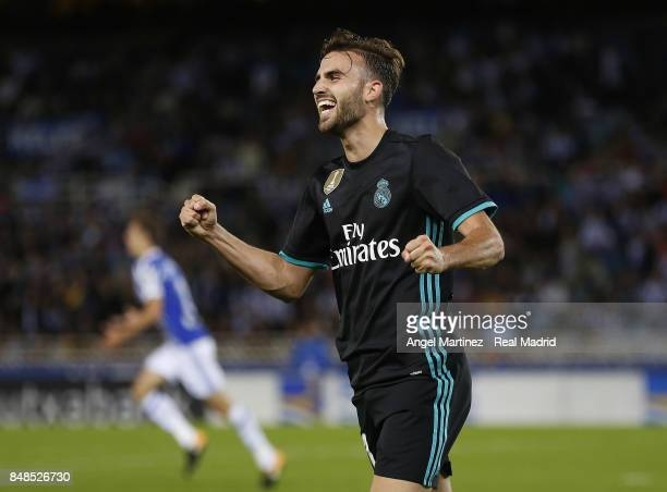 Borja Mayoral of Real Madrid celebrates after scoring his team's second goal during the La Liga match between Real Sociedad and Real Madrid CF at...