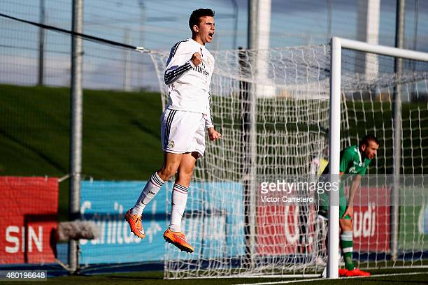Borja Mayoral of Real Madrid celebrates after scoring the opening goal during the UEFA Youth League match between Real Madrid and Ludogorets at...