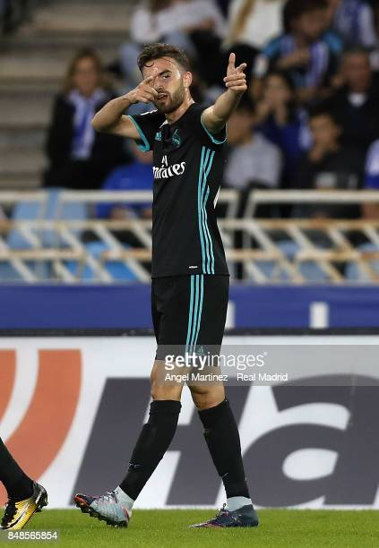 Borja Mayoral of Real Madrid celebrates after scoring the opening goal during the La Liga match between Real Sociedad and Real Madrid CF at Anoeta...