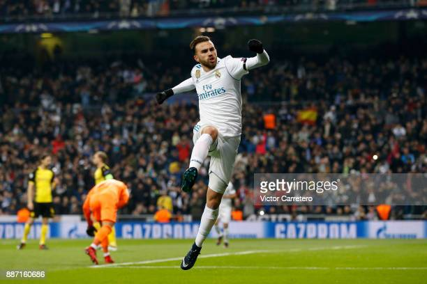 Borja Mayoral of Real Madrid celebrates after scoring the opening goal during the UEFA Champions League group H match between Real Madrid CF and...