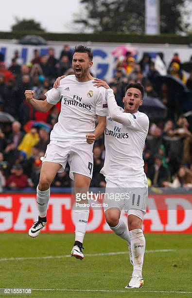 Borja Mayoral of Real Madrid celebrates after scoring with his teammate Jose Carlos Lazo during the UEFA Youth League semi final match between Real...