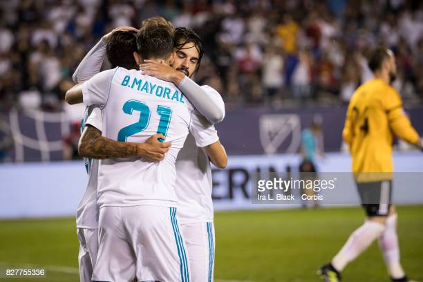Borja Mayoral of Real Madrid celebrates the goal with teammates during the MLS AllStar match between the MLS AllStars and Real Madrid at the Soldier...