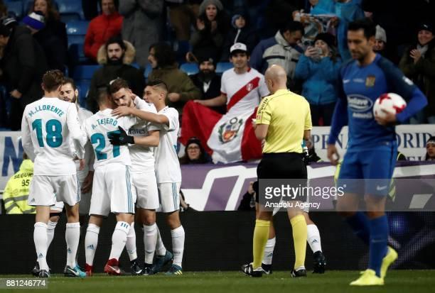 Borja Mayoral of Real Madrid celebrates with his teammates Marcos Llorente Alvaro Tejero Nacho Fernandez and Oscar Rodriguez after scoring a goal...