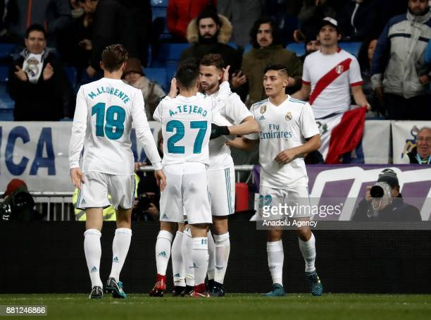 Borja Mayoral of Real Madrid celebrates with his teammates Marcos Llorente Alvaro Tejero and Oscar Rodriguez after scoring a goal during the King's...