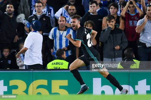 Borja Mayoral of Real Madrid CF celebrates after scoring his team's first goal during the La Liga match between Real Sociedad and Real Madrid at...