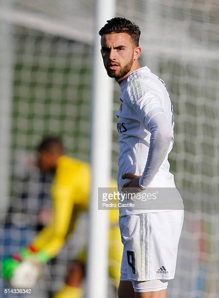 Borja Mayoral of Real Madrid CF looks on during the UEFA Youth League quarterfinal match between Real Madrid CF and SL Benfica at Estadio Alfredo Di...