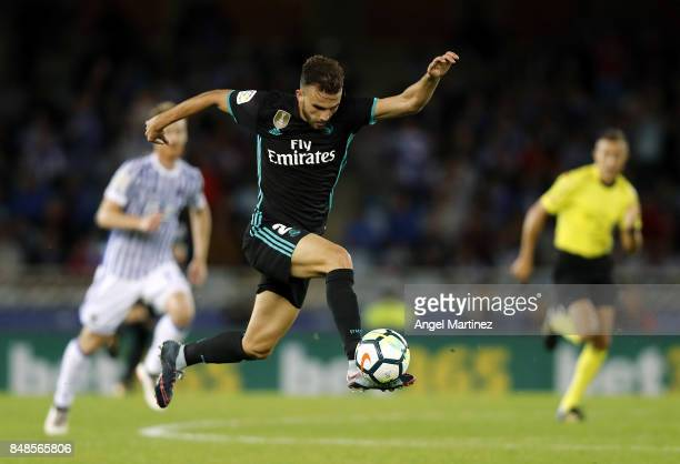 Borja Mayoral of Real Madrid controls the ball during the La Liga match between Real Sociedad and Real Madrid CF at Anoeta Stadium on September 17...