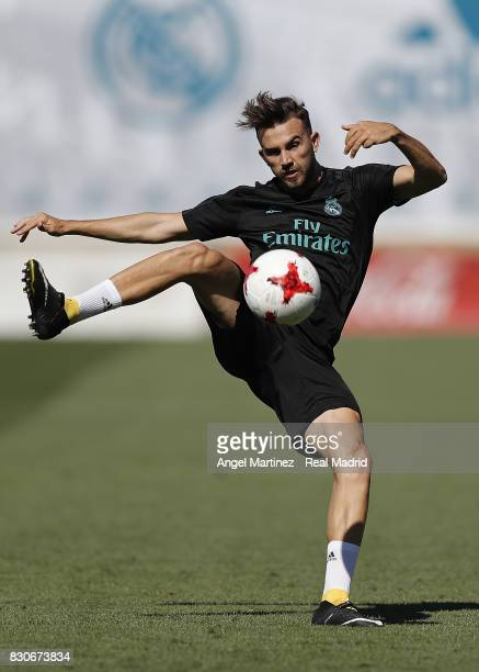 Borja Mayoral of Real Madrid in action during a training session at Valdebebas training ground on August 12 2017 in Madrid Spain
