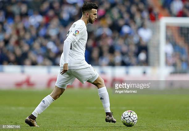 Borja Mayoral of Real Madrid in action during the La Liga match between Real Madrid CF and Club Atletico de Madrid at Estadio Santiago Bernabeu on...