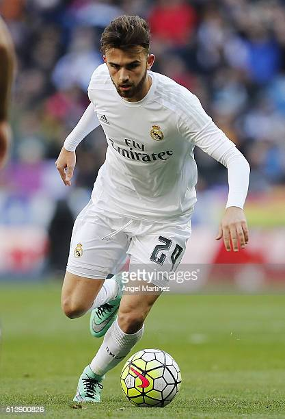 Borja Mayoral of Real Madrid in action during the La Liga match between Real Madrid CF and Celta Vigo at Estadio Santiago Bernabeu on March 5 2016 in...