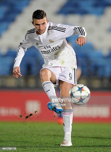 Borja Mayoral of Real Madrid in action during the UEFA Youth League Round of 16 match between Real Madrid and FC Porto at Estadio Alfredo Di Stefano...