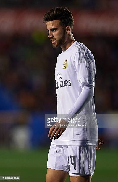 Borja Mayoral of Real Madrid looks on during the La Liga match between Levante UD and Real Madrid at Ciutat de Valencia on March 02 2016 in Valencia...