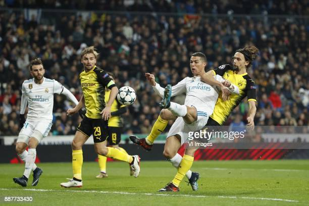Borja Mayoral of Real Madrid Marcel Schmelzer of Borussia Dortmund Cristiano Ronaldo of Real Madrid Neven Subotic of Borussia Dortmund during the...