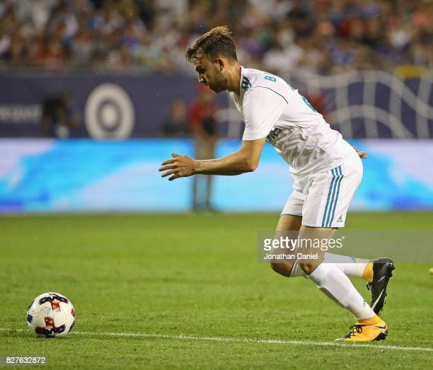 Borja Mayoral of Real Madrid prepares to shoot to score a goal against the MLS AllStars during the 2017 MLS All Star Game at Soldier Field on August...