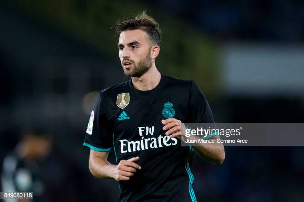 Borja Mayoral of Real Madrid reacts during the La Liga match between Real Sociedad de Futbol and Real Madrid at Estadio Anoeta on September 17 2017...
