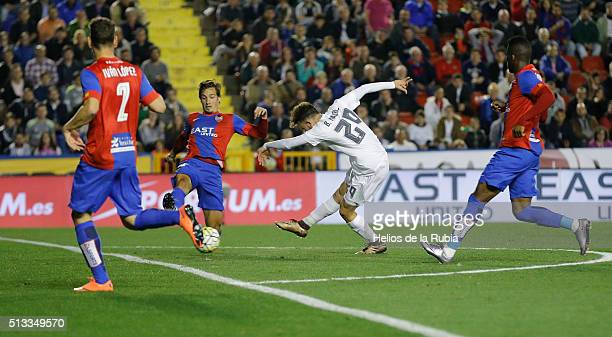 Borja Mayoral of Real Madrid score the goal during the La Liga match between Levante UD and Real Madrid at Ciutat de Valencia on March 02 2016 in...