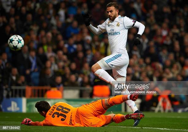 Borja Mayoral of Real Madrid scores his team's first goal during the UEFA Champions League group H match between Real Madrid and Borussia Dortmund at...