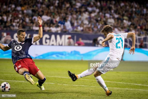 Borja Mayoral of Real Madrid takes the shot for a goal against Matt Hedges of the MLS AllStar team during the MLS AllStar match between the MLS...