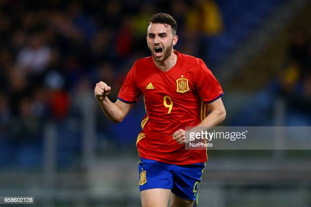 Borja Mayoral of Spain celebrating the goal of 02 scored during the international friendly match between Italy U21 and Spain U21 at Olimpico Stadium...