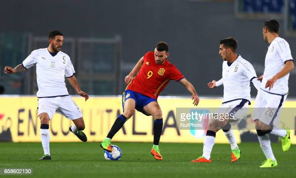 Borja Mayoral of Spain in action during the international friendly match between Italy U21 and Spain U21 at Olimpico Stadium on March 27 2017 in Rome...