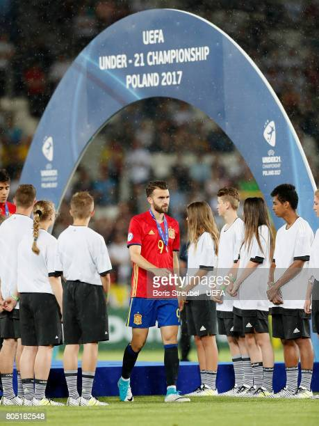 Borja Mayoral of Spain looks dejected after losing the UEFA European Under21 Championship Final match between Germany and Spain at Krakow Stadium on...