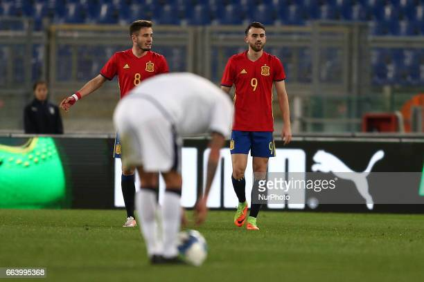 Borja Mayoral of Spain U21 celebrates after scoring the team's second goal during the International Friendly Under 21 Italia v Spagna at Olimpico...