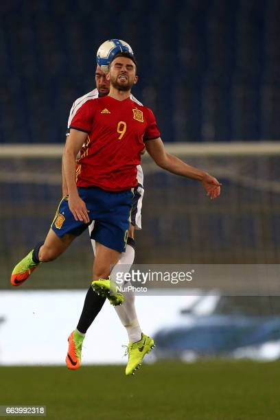 Borja Mayoral of Spain U21 compete for the ball with Davide Biraschi of Italy U21 during the International Friendly Under 21 Italia v Spagna at...