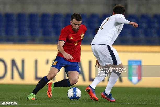 Borja Mayoral of Spain U21 compete for the ball with Davide Calabria of Italy U21 during the International Friendly Under 21 Italia v Spagna at...