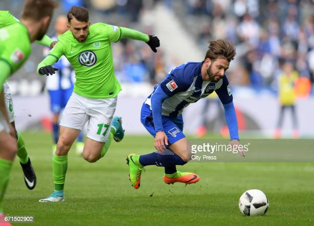 Borja Mayoral of VfL Wolfsburg and Marvin Plattenhardt of Hertha BSC during the game between Hertha BSC and dem VfL Wolfsburg on april 22 2017 in...