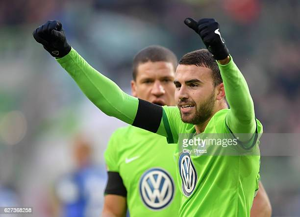 Borja Mayoral of VfL Wolfsburg celebrate after scoring the 10 during the game between VfL Wolfsburg and Hertha BSC on december 3 2016 in Wolfsburg...