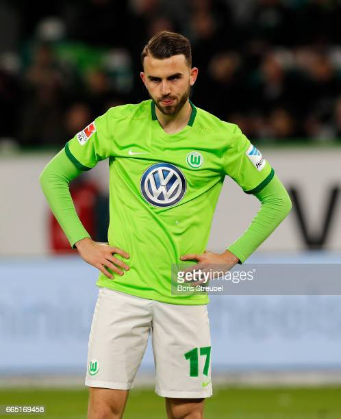 Borja Mayoral of VfL Wolfsburg looks dejected during the Bundesliga match between VfL Wolfsburg and SC Freiburg at Volkswagen Arena on April 5 2017...